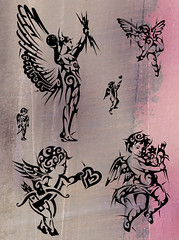 ANGELS (Black Crown . tribal) Tags: white black art angel design god tribal tatoo ceu ilustration anjos deus querobin