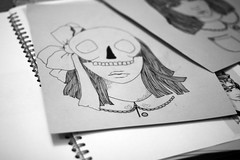 Skull Face (Shnnon) Tags: portrait girl pen hair nose skull dress drawing lips bow button ribbon biro peterpancollar