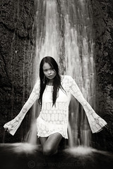 Mystical Water (Andrew S. Gibson) Tags: newzealand blackandwhite woman blur water girl beautiful asian waterfall pretty auckland northisland waitakere fairyfalls slowshutterspeed