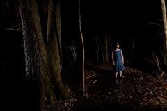 dark woods no.3 (Megan Snider) Tags: blue feet night dark woods alone dress blind barefoot blindfold
