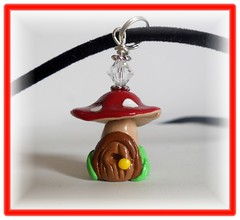Polymer clay Red Mushroom House pendant/necklace (Kellee's Beaded and Clay Creations) Tags: door red mushroom necklace gnome crystal handmade elf polymerclay fairy clay handcrafted toadstool swarovski pendant enchanted polymer kelleepaschall