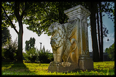 Le Lion-4 (o.penet) Tags: stone benches publicgardens bancs pierre honfleur normandy fleurs flowers blue red pink yellow mauve