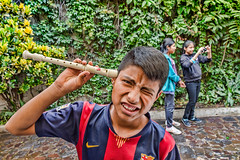 How does this thing work? (Pejasar) Tags: escuelaintegrada guatemala antigua recorder musicalinstrument classclown walter student youth young male boy funny