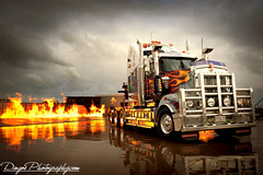 Flames (DingosGotMyBaby) Tags: reflection truck fire nikon flames australia tow cfa kenworth t908