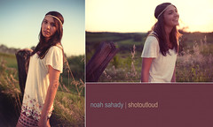 Amy...my great hippie friend =p (noahsahady.com) Tags: sunset field fashion vintage diptych warm naturallight hippie canon5d disc reflector 5018