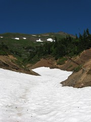 snow filled pumice gully
