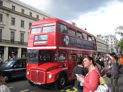 Old-style London double-decker bus