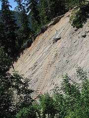 The extent of current erosion shown