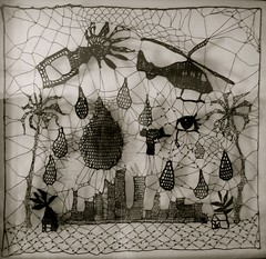 Lace (kat coyle) Tags: wool landscape wire mesh handmade lace steel web crochet silk helicopter cotton string narrative stainless irishcrochet crochetart