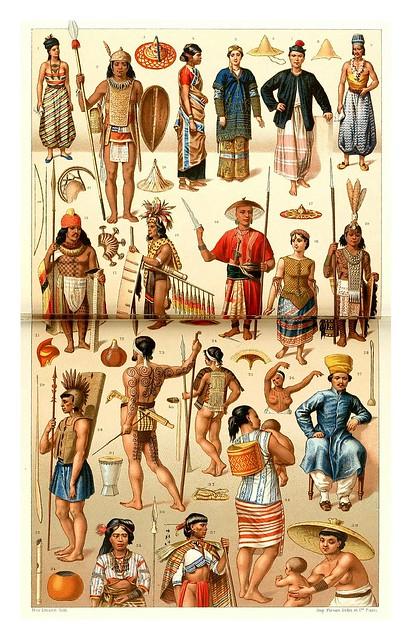 016-Archipielago Malayo-Micronesia-Melanesia y Polinesia-trajes joyas herramientas y armas -A.Racinete 1888