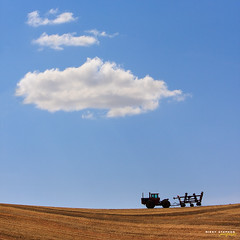 The Palouse - II (djniks) Tags: cloud tractor field square washington farm wheat harvest bluesky stephen eastern palouse nikky easternwashington canon70200f28 canon40d nikkystephen rolllinghills