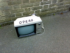 Hugh Hughes: A TV set in Cambridge with 'Opera' written on it