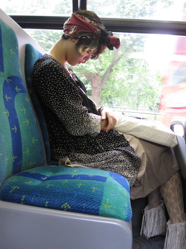 Girl sleeping on a bus