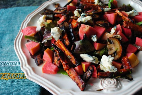 the blue cheese, caramelized carrot, pink pearl apple, rosemary mushroom salad.