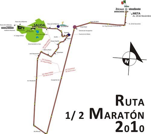 Ruta final del Medio Maratón de la Ciudad de México