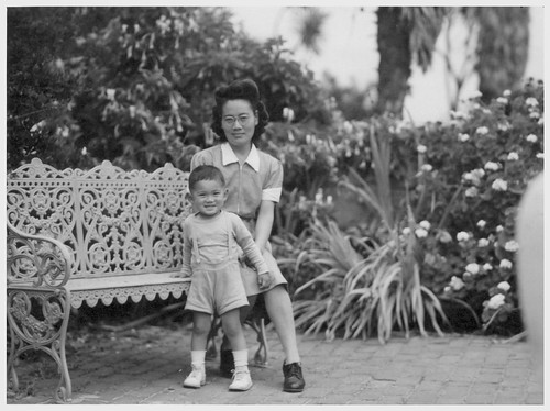 Ms. Fukusawa with Her Son at Hammet Estate in Santa Barbara After Return from Relocation