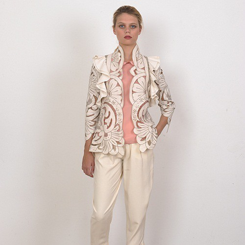 Handmade Embroidery Ruffled Jacket by Natalie C by wolfandbadger