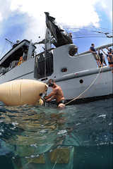Attaching a Safety Line (US Navy) Tags: boat barco military safety militar diver usnavy unitedstatesnavy buceador salvageproject