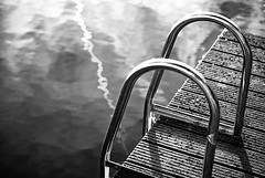 If you dare (Allard Schager) Tags: blackandwhite bw seascape holland nature water netherlands monochrome metal reflections landscape nikon zwartwit steps ned