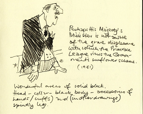 Exhibition sketchbook: Perhaps His Majesty's Minister is not aware of the grave displeasure with which the Primrose League views the Government's sunflower scheme.