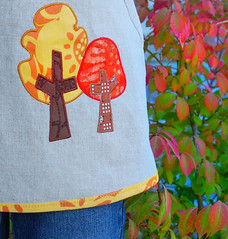 autumn forest smock (meringuedesigns) Tags: autumn fall clothing linen embroidery applique smock bernina childrensewing