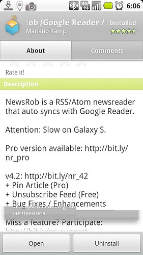 NewsRob Android screen capture