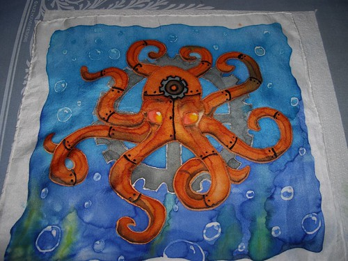 SteamPunk Octopus handkerchief Finished