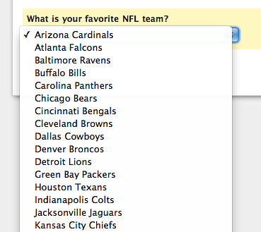 NFL Teams Dropdown