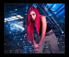Smoking Redhead (Kaj0 / kajophotography.com) Tags: light portrait zeiss studio zoe graffiti model glamour smoke flash highlights redhead laser teenager redhair beams strobe kajo