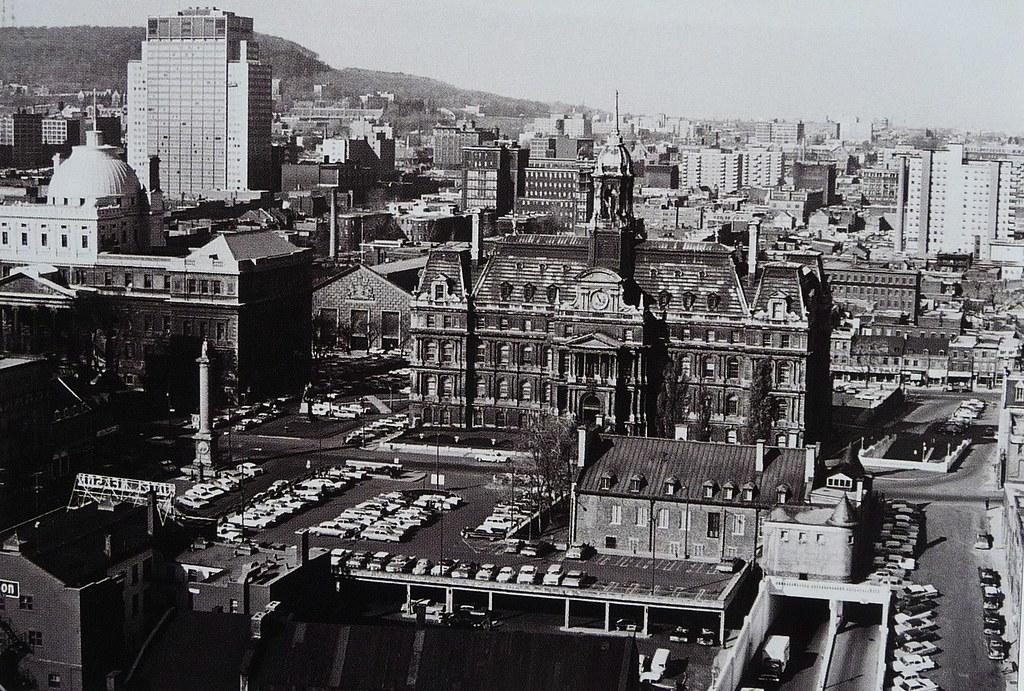 Vieux Montréal 1962. Rue N.Dame, Place Jacques Cartier, rues Craig, Gosford et St-Claude >Nord.
