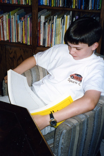 Will (14) studying chemistry, 1999.