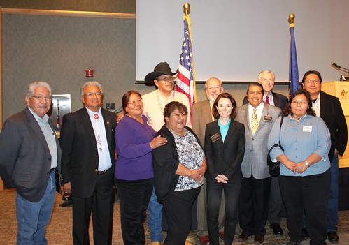 Tribal Consultation:  Front row, left to right, Phillip Chimburas, Ute Indian Tribe; Ernest House, Chairman, Ute Mountain; Leona Eyetoo, South Ute Tribe; Jeanine Borchardt, Chairwoman, Paiute Tribe; Jessica Zufolo, Deputy Administrator, Rural Utilities Service; Forrest S. Cuch, Director, Division of Indian Affairs:  Madeline Greymountain, Tribal Council Member, Confederate Tribes of Goshute Reservations. Back row: Kenneth Maryboy, Navajo, UTL Chair; Dave Conine, Utah State Director, USDA Rural Development; Utah LT. Governor Greg Bell; Leonard Gorman , Executive Director Navajo Nation Human Rights Commission.