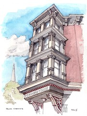 Palma Chemists (James Anzalone) Tags: city nyc newyorkcity pink blue sky urban brick home window architecture illustration brooklyn pen ink print james bay sketch drawing details capital perspective victorian parkslope landmark historic line september pharmacy nostalgic gothamist freehand etsy drugstore decor palma garfield prescription rendering 7thavenue chemists carnetdevoyage pleinair anzalone urbansketchers parkslopesketch
