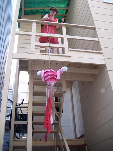 Sara with piñata