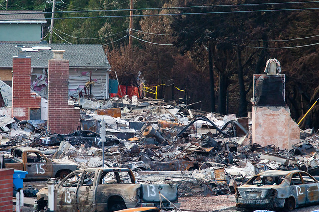Burned Houses and Burned Parked Vehicles, San Bruno Gas Line Explosion, 2010