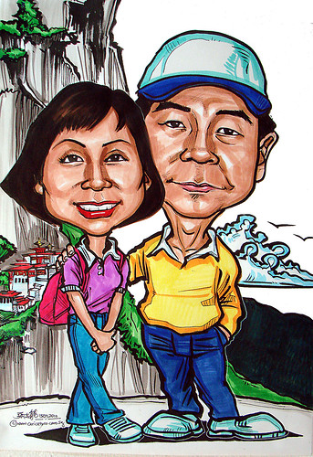 Couple caricatures at Bhutan