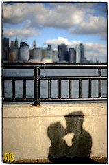 Shadows and Skylines (Ryan Brenizer) Tags: newyorkcity wedding shadow woman man silhouette skyline groom bride engagement newjersey nikon jerseycity newyorkskyline libertystatepark 50mmf12ais d3s