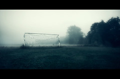 Let's Play (Latyrx) Tags: morning light shadow mist green net colors field fog suomi finland river photography early photo football goal mood escape play graphic forrest lets soccer perspective bad atmosphere holes finnish try shape 2010 bluehue ambiance sigma1020mm latyrx nikond90 mikkolagerstedt