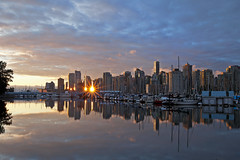 When The Sun Rises... (Claire Chao) Tags: summer canada reflection vancouver sunrise dawn boat glow cityscape harbour britishcolumbia stanleypark boathouse coalharbor citylight brokencloud aftersunrise canoneos5dmarkii cityscapereflection sunriseview