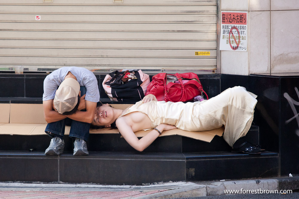 Japanese people are able to sleep in some interesting and amazing places. Tokyo, Sleep, Sleeping, Japan, Train Station, Steet, Sidewalk