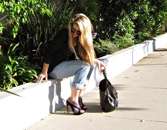 kirkwood heels+ferragamo bag+cuffed jeans