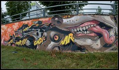 Nychos Aryz (Romany WG) Tags: barcelona dogs graffiti spain pano angry wolves granollers nychos aryz