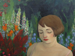 Dreaming of a Wild Life (detail) (the brilliant magpie) Tags: pink flowers portrait woman art overgrown girl garden painting hair colorful pretty clematis bob digitalis begonia oil foxglove brunette canna voluptuous zaftig rubenesque huechera amyabshierreyes junoesque dreamingofawildlife