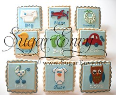 Baby Shower Cookie Favors Various Designs (Sugar Envy) Tags: boy baby cookies car plane shower duck carriage diaper rubberducky owl footprint babyshower onesie babycarriage babyshowerfavors sugarenvycookies sugarenvy sugarenvynet