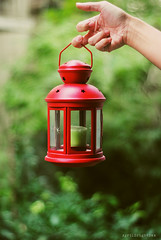 Your word is a lamp to my feet and a light for my path. (April BrightBax) Tags: red green nikon candle dof quote naturallight lantern h