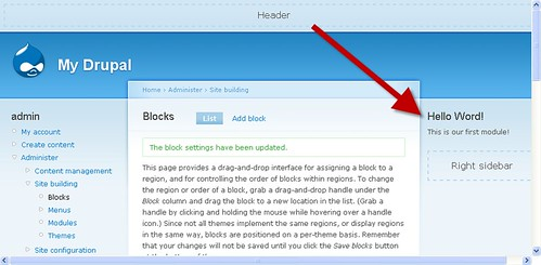 Drupal Module Showing Block Tutorial