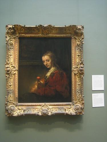 Woman with a Pink, c. 1660-64, Rembrandt (Rembrandt van Rijn) _8294