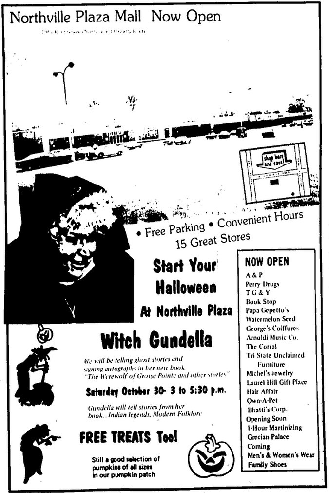 Halloween with Gundella at the Northville Plaza Mall Advert