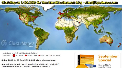 ClustrMap on 1 Oct 2010 for Tom Barrett's classroom blog - class5jd.posterous.com