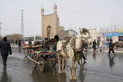 Street and mosque in Sunday bazaar village, near Kashgar (inchiki tour) Tags: china travel winter photo village market mosque uighur xinjiang silkroad kashgar   uyghur bazaar centralasia